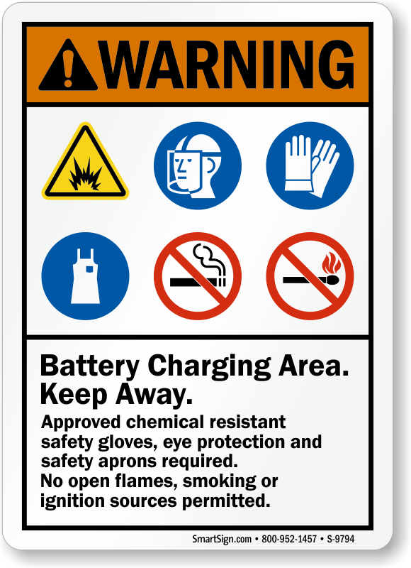 Battery Charging Area Keep Away Approved Chemical