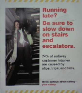 Slip and fall subway sign