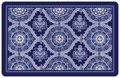 Beautiful Deep Blue Floral Mat ...