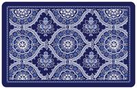 Deep Blue Floral Mat