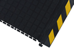 Linkable Side Tile Mat with Yellow Striped Border